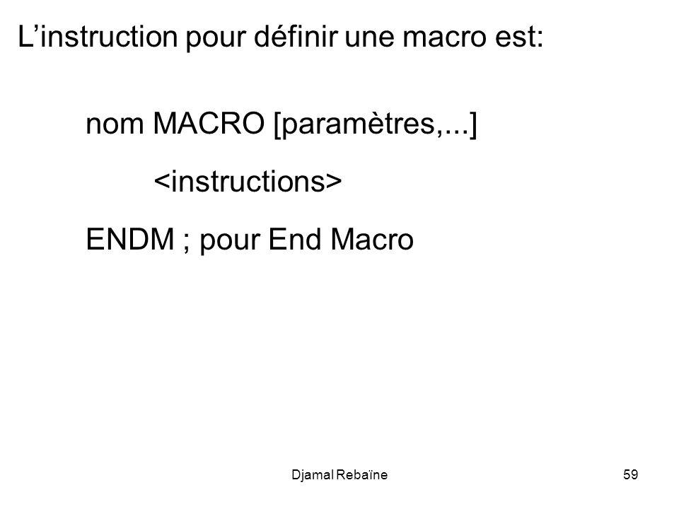 L'instruction pour définir une macro est: nom MACRO [paramètres,...]
